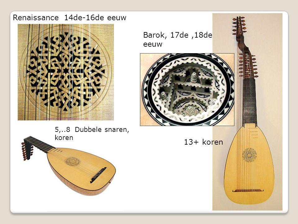 Barok Barok gitaar 1876 Spanje - Torres 1825 Frankrijk 5 Dubbele snaren Metalen stem mechanieken, metalen fretten Romantische gitaar 6 enkele snaren 5..6 enkele snaren Hogere snaar spanning
