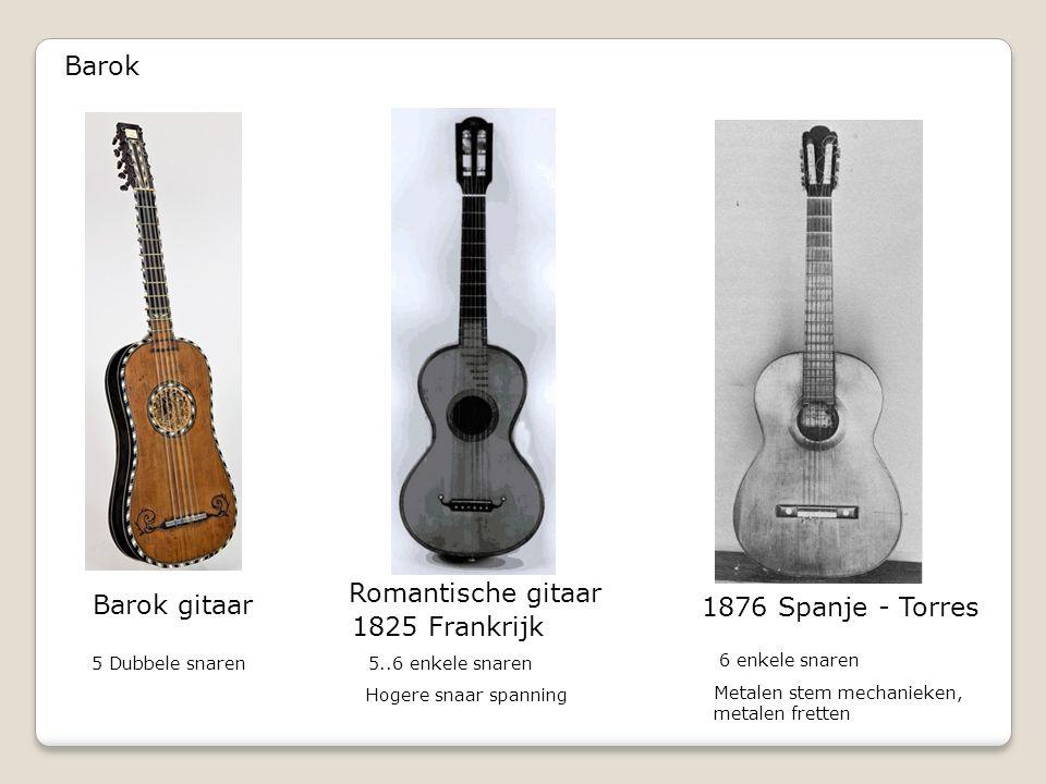 Barok Barok gitaar 1876 Spanje - Torres 1825 Frankrijk 5 Dubbele snaren Metalen stem mechanieken, metalen fretten Romantische gitaar 6 enkele snaren 5