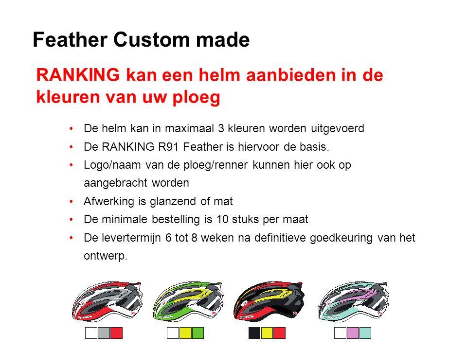 Feather Custom made De helm kan in maximaal 3 kleuren worden uitgevoerd De RANKING R91 Feather is hiervoor de basis.