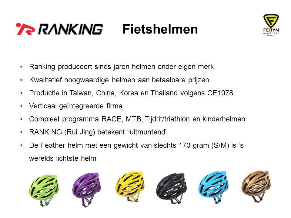 Ranking produceert sinds jaren helmen onder eigen merk Kwalitatief hoogwaardige helmen aan betaalbare prijzen Productie in Taiwan, China, Korea en Thailand volgens CE1078 Verticaal geïntegreerde firma Compleet programma RACE, MTB, Tijdrit/triathlon en kinderhelmen RANKING (Rui Jing) betekent uitmuntend De Feather helm met een gewicht van slechts 170 gram (S/M) is 's werelds lichtste helm Fietshelmen