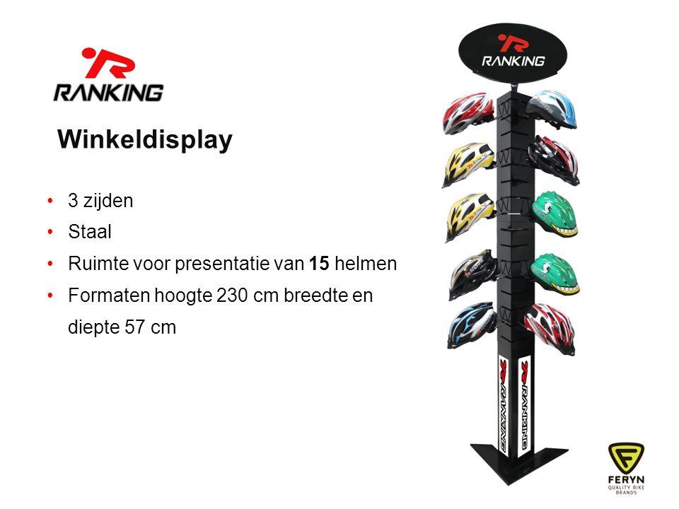 Winkeldisplay 3 zijden Staal Ruimte voor presentatie van 15 helmen Formaten hoogte 230 cm breedte en diepte 57 cm