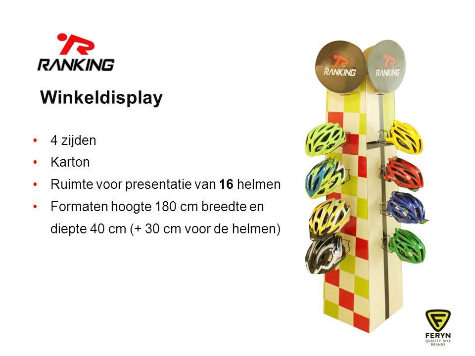 Winkeldisplay 4 zijden Karton Ruimte voor presentatie van 16 helmen Formaten hoogte 180 cm breedte en diepte 40 cm (+ 30 cm voor de helmen)