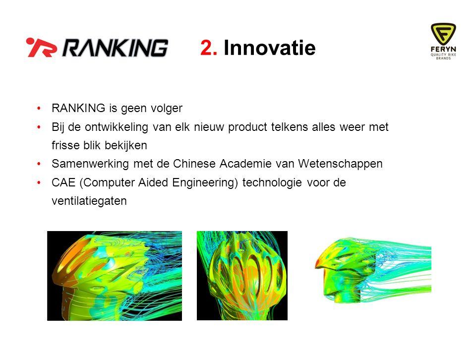 RANKING is geen volger Bij de ontwikkeling van elk nieuw product telkens alles weer met frisse blik bekijken Samenwerking met de Chinese Academie van Wetenschappen CAE (Computer Aided Engineering) technologie voor de ventilatiegaten 2.