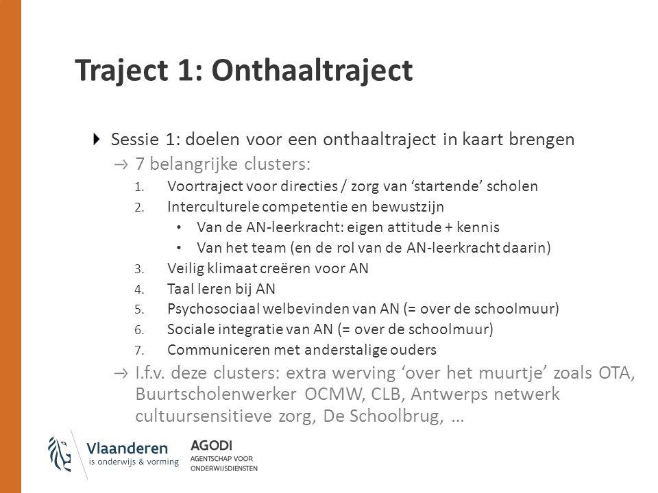 Traject 1: Onthaaltraject Sessie 1: doelen voor een onthaaltraject in kaart brengen 7 belangrijke clusters: 1.