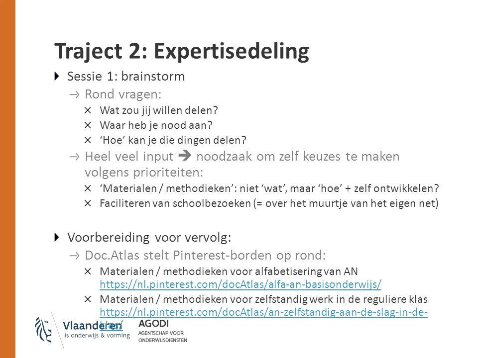 Traject 2: Expertisedeling Sessie 1: brainstorm Rond vragen: Wat zou jij willen delen.