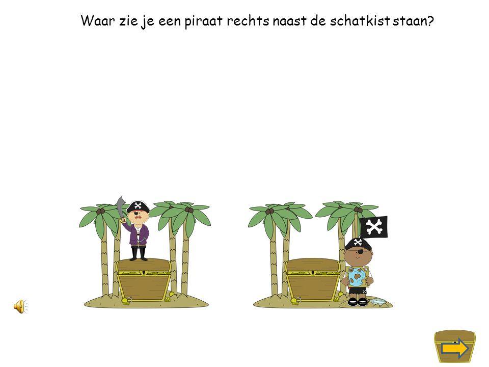 Waar zie je een piraat boven op de schatkist