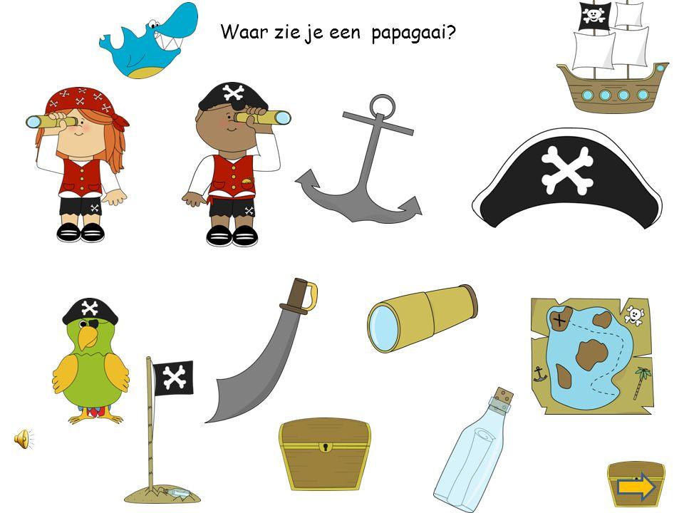 Waar zie je een piraat met een verrekijker