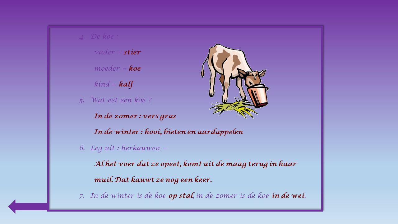 1.Waarvoor kweekt de boer koeien . Omdat ze ons vlees en melk geven.