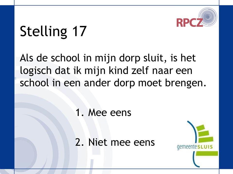 Stelling 17 Als de school in mijn dorp sluit, is het logisch dat ik mijn kind zelf naar een school in een ander dorp moet brengen.