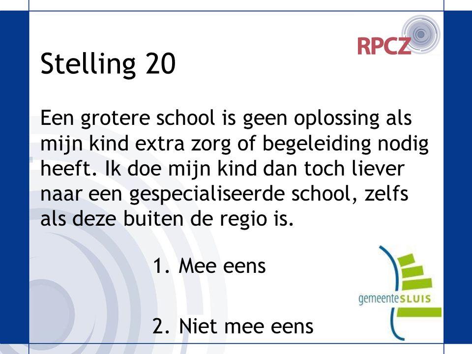 Stelling 20 Een grotere school is geen oplossing als mijn kind extra zorg of begeleiding nodig heeft.