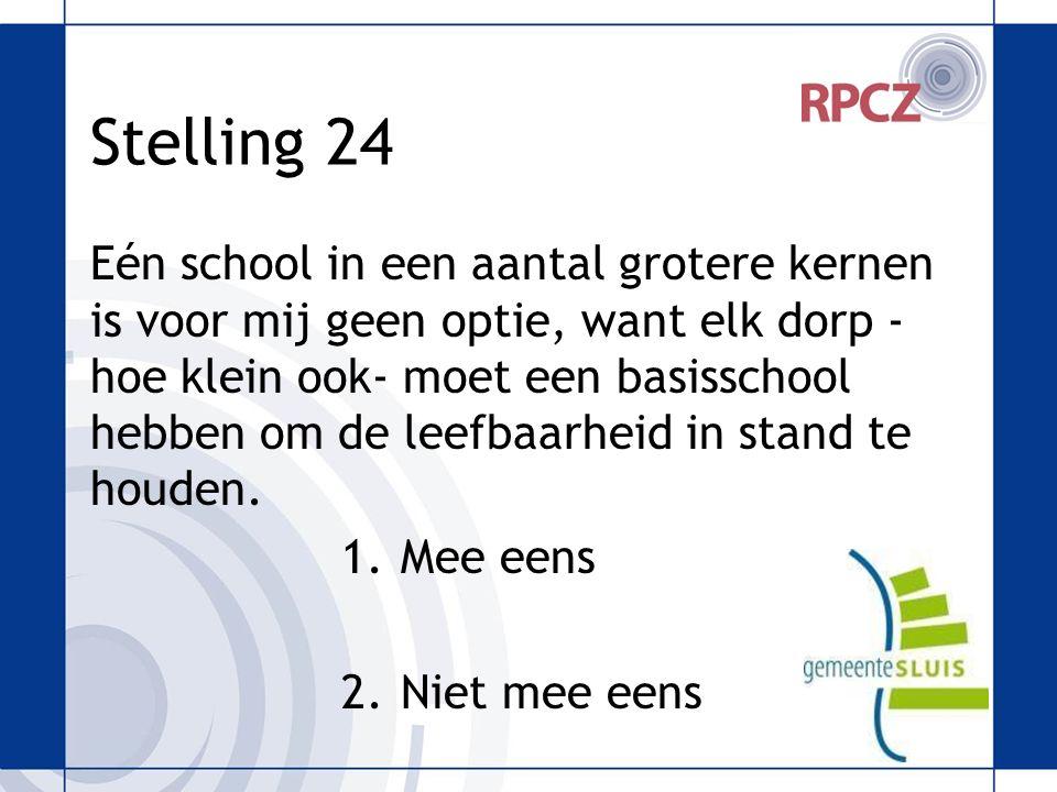 Stelling 24 Eén school in een aantal grotere kernen is voor mij geen optie, want elk dorp - hoe klein ook- moet een basisschool hebben om de leefbaarheid in stand te houden.