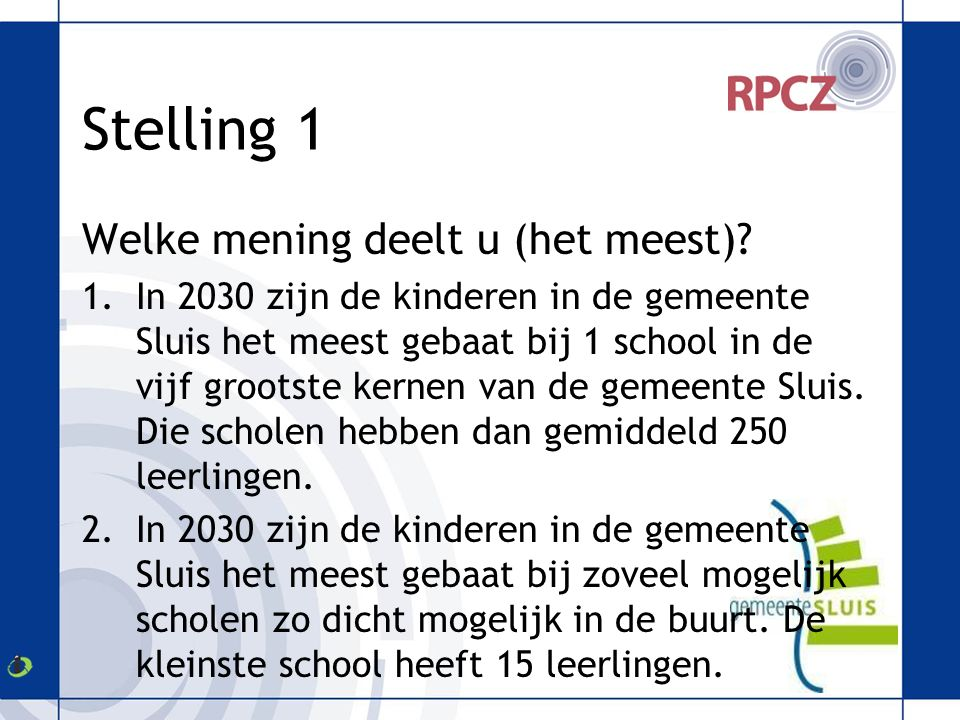 Stelling 2 Ik bepaal mijn schoolkeuze op grond van het voorzieningenniveau (kinderopvang, cultuuraanbod,etc.) 1.Mee eens 2.Niet mee eens