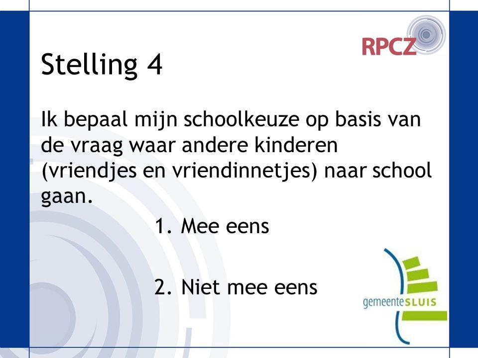 Stelling 4 Ik bepaal mijn schoolkeuze op basis van de vraag waar andere kinderen (vriendjes en vriendinnetjes) naar school gaan.