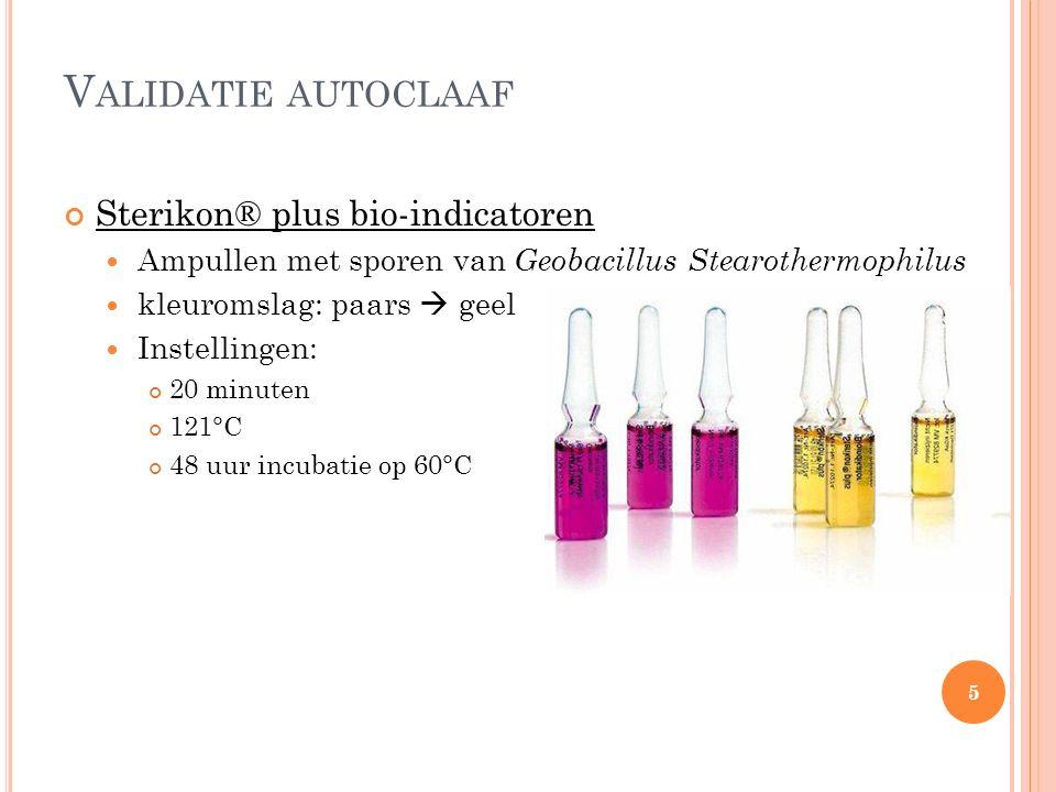 V ALIDATIE AUTOCLAAF Sterikon® plus bio-indicatoren Ampullen met sporen van Geobacillus Stearothermophilus kleuromslag: paars  geel Instellingen: 20 minuten 121°C 48 uur incubatie op 60°C 5