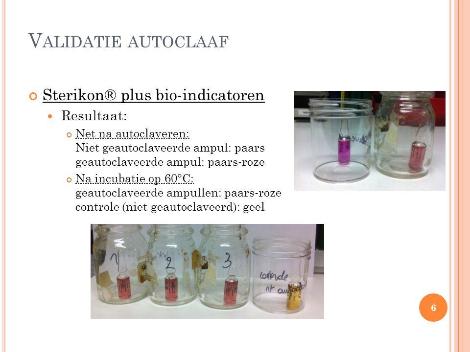 V ALIDATIE AUTOCLAAF Sterikon® plus bio-indicatoren Resultaat: Net na autoclaveren: Niet geautoclaveerde ampul: paars geautoclaveerde ampul: paars-roze Na incubatie op 60°C: geautoclaveerde ampullen: paars-roze controle (niet geautoclaveerd): geel 6