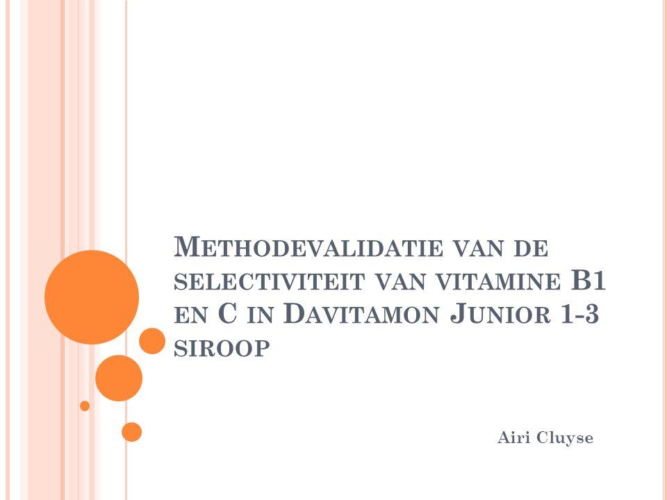 M ETHODEVALIDATIE VAN DE SELECTIVITEIT VAN VITAMINE B1 EN C IN D AVITAMON J UNIOR 1-3 SIROOP Airi Cluyse