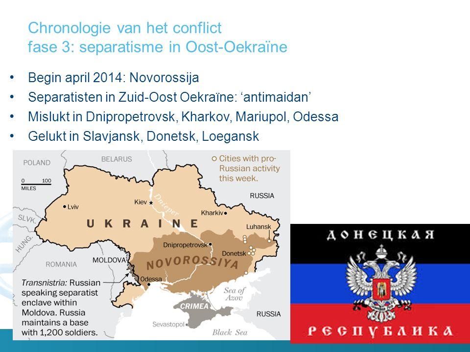 Chronologie van het conflict fase 3: separatisme in Oost-Oekraïne Begin april 2014: Novorossija Separatisten in Zuid-Oost Oekraïne: 'antimaidan' Mislukt in Dnipropetrovsk, Kharkov, Mariupol, Odessa Gelukt in Slavjansk, Donetsk, Loegansk