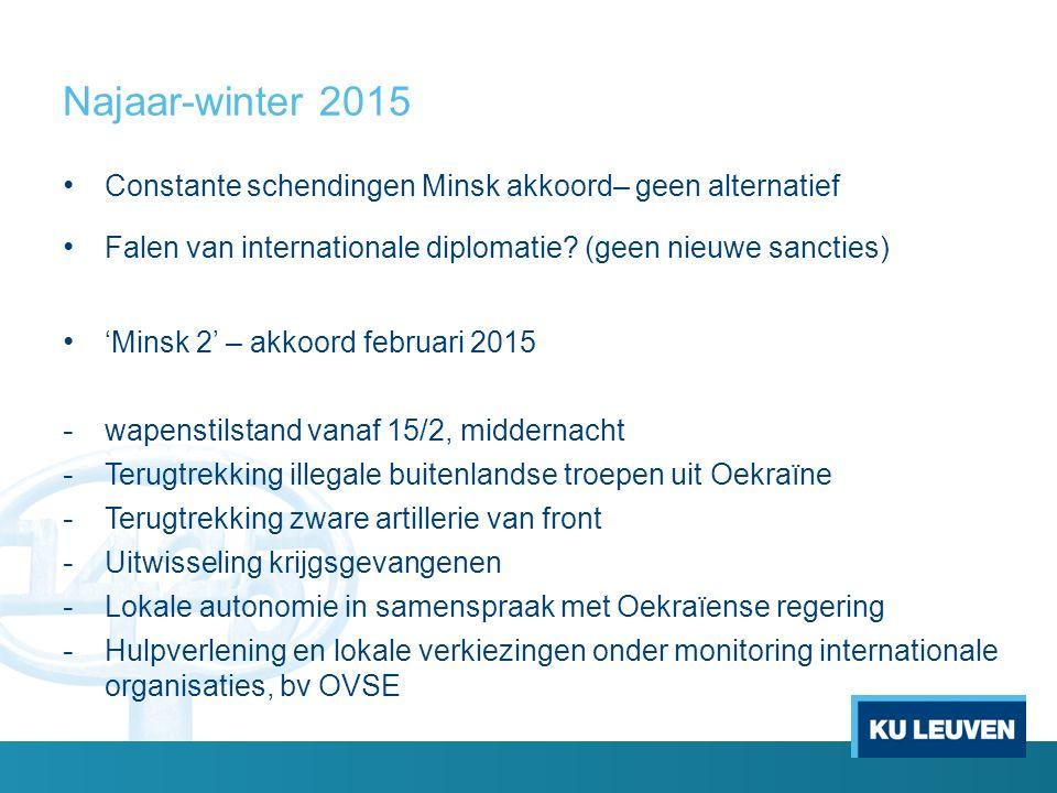 Najaar-winter 2015 Constante schendingen Minsk akkoord– geen alternatief Falen van internationale diplomatie.