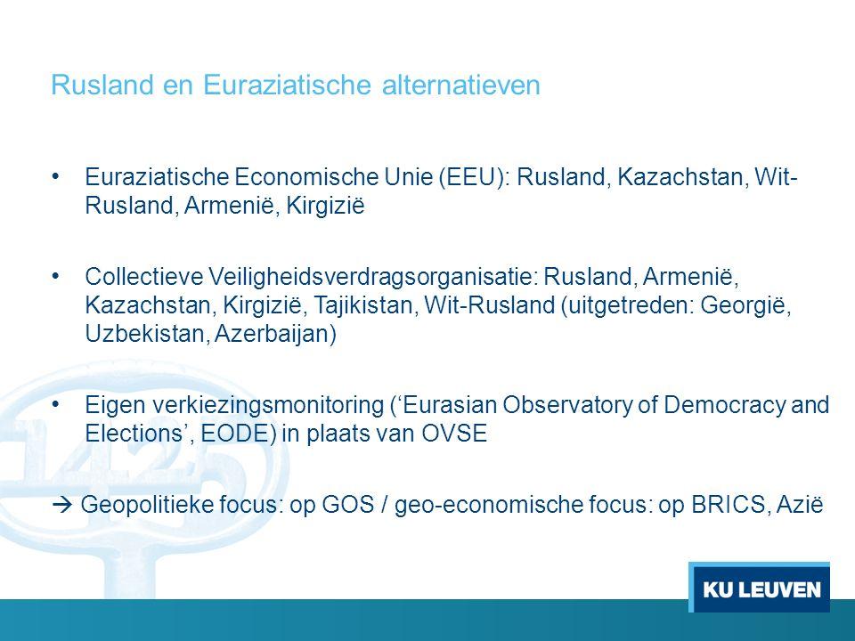 Rusland en Euraziatische alternatieven Euraziatische Economische Unie (EEU): Rusland, Kazachstan, Wit- Rusland, Armenië, Kirgizië Collectieve Veiligheidsverdragsorganisatie: Rusland, Armenië, Kazachstan, Kirgizië, Tajikistan, Wit-Rusland (uitgetreden: Georgië, Uzbekistan, Azerbaijan) Eigen verkiezingsmonitoring ('Eurasian Observatory of Democracy and Elections', EODE) in plaats van OVSE  Geopolitieke focus: op GOS / geo-economische focus: op BRICS, Azië