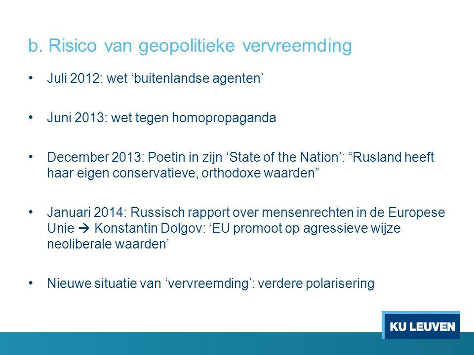 b. Risico van geopolitieke vervreemding Juli 2012: wet 'buitenlandse agenten' Juni 2013: wet tegen homopropaganda December 2013: Poetin in zijn 'State