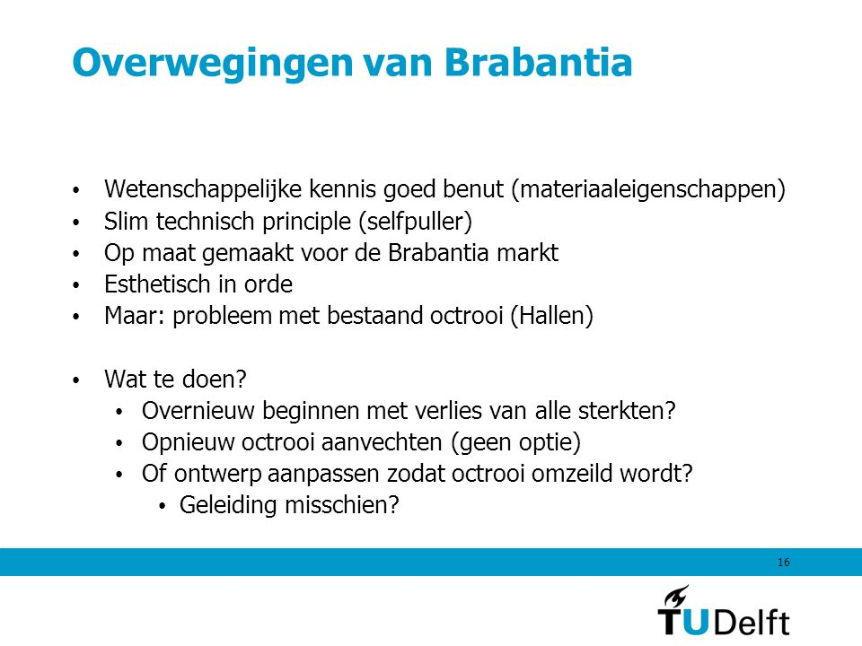 16 Overwegingen van Brabantia Wetenschappelijke kennis goed benut (materiaaleigenschappen) Slim technisch principle (selfpuller) Op maat gemaakt voor