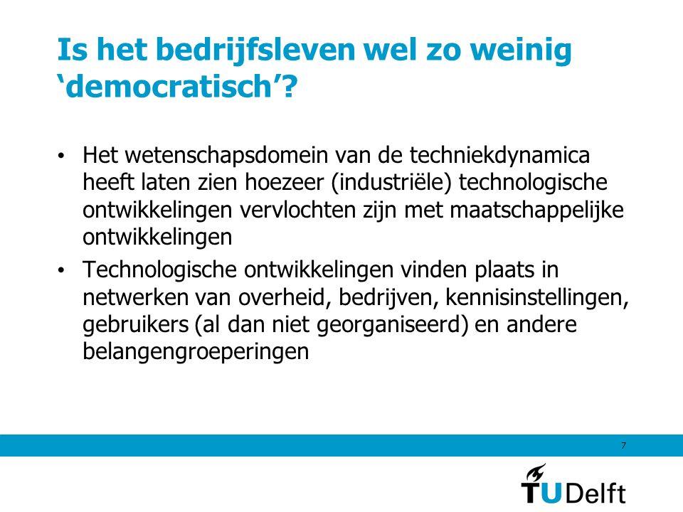 7 Is het bedrijfsleven wel zo weinig 'democratisch'? Het wetenschapsdomein van de techniekdynamica heeft laten zien hoezeer (industriële) technologisc