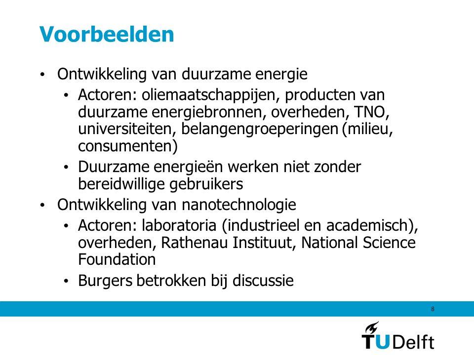 8 Voorbeelden Ontwikkeling van duurzame energie Actoren: oliemaatschappijen, producten van duurzame energiebronnen, overheden, TNO, universiteiten, be