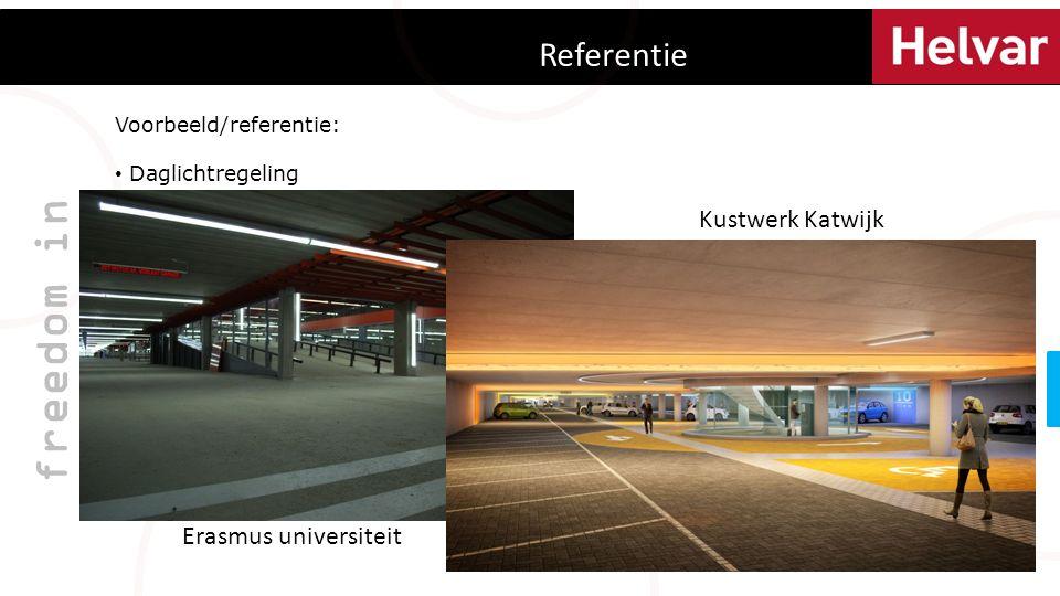 Referentie freedom in lighting Voorbeeld/referentie: Daglichtregeling Aan-, Afwezigheid detectie Basis verlichting tijdens winkeltijden Koppeling brand en ontruiming Handmatige bediening beheerder Ikea Hengelo Erasmus universiteit Kustwerk Katwijk