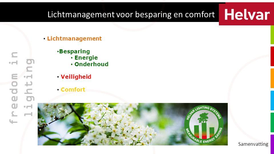 freedom in lighting Lichtmanagement voor besparing en comfort Samenvatting Lichtmanagement Besparing Energie Onderhoud Veiligheid Comfort
