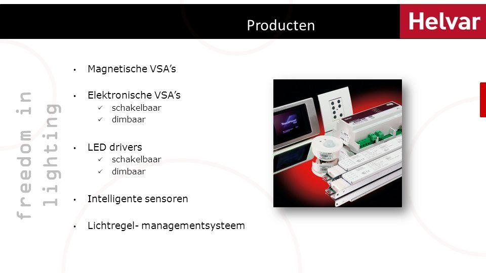 Producten freedom in lighting Magnetische VSA's Elektronische VSA's schakelbaar dimbaar LED drivers schakelbaar dimbaar Intelligente sensoren Lichtregel- managementsysteem