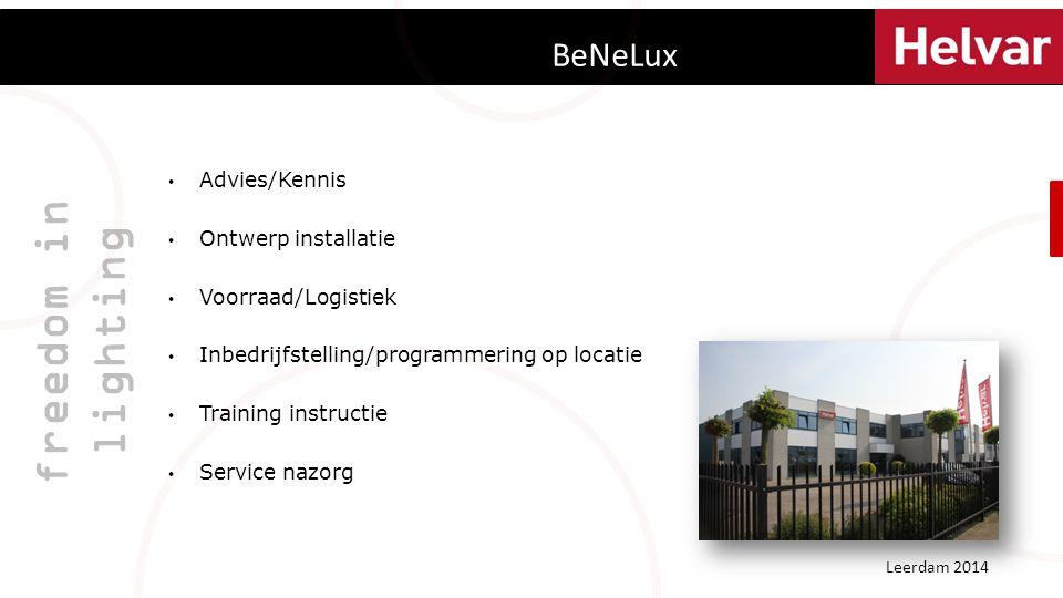 BeNeLux freedom in lighting Advies/Kennis Ontwerp installatie Voorraad/Logistiek Inbedrijfstelling/programmering op locatie Training instructie Service nazorg Leerdam 2014
