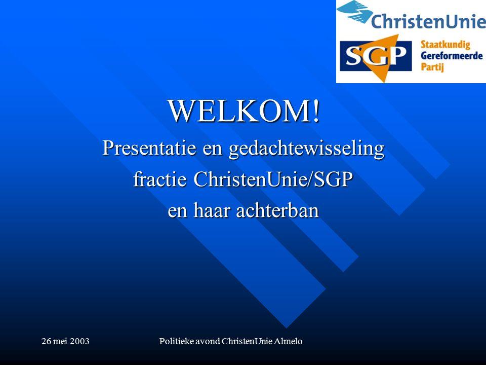 26 mei 2003Politieke avond ChristenUnie Almelo WELKOM.