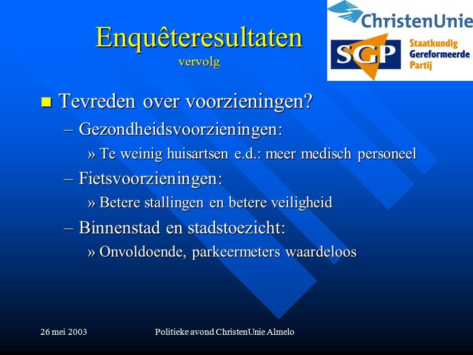 26 mei 2003Politieke avond ChristenUnie Almelo Enquêteresultaten vervolg Tevreden over voorzieningen.