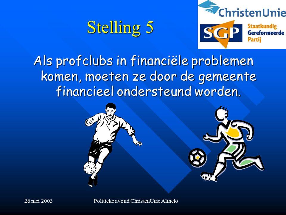 26 mei 2003Politieke avond ChristenUnie Almelo Stelling 5 Als profclubs in financiële problemen komen, moeten ze door de gemeente financieel ondersteund worden.