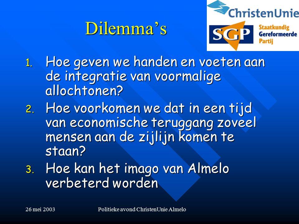 26 mei 2003Politieke avond ChristenUnie Almelo Dilemma's 1.