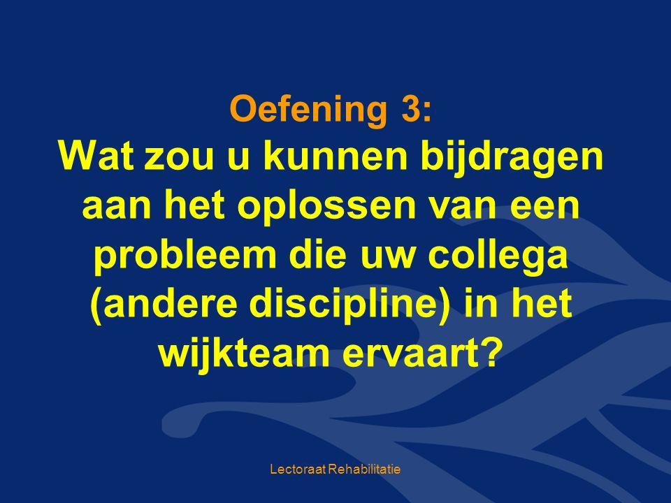 Oefening 3: Wat zou u kunnen bijdragen aan het oplossen van een probleem die uw collega (andere discipline) in het wijkteam ervaart.