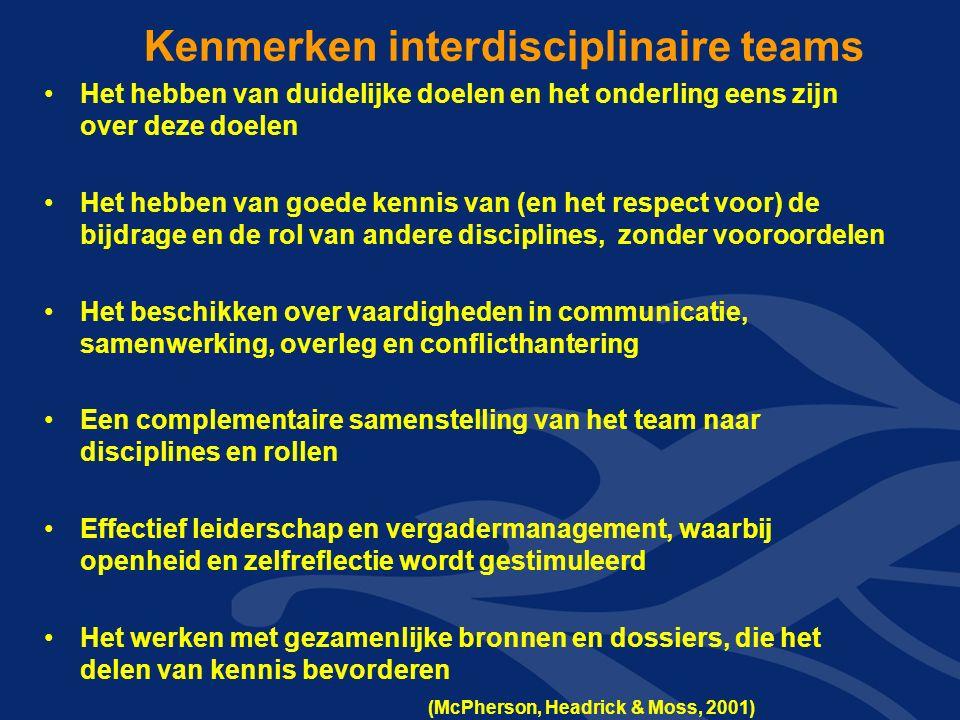 Kenmerken interdisciplinaire teams Het hebben van duidelijke doelen en het onderling eens zijn over deze doelen Het hebben van goede kennis van (en het respect voor) de bijdrage en de rol van andere disciplines, zonder vooroordelen Het beschikken over vaardigheden in communicatie, samenwerking, overleg en conflicthantering Een complementaire samenstelling van het team naar disciplines en rollen Effectief leiderschap en vergadermanagement, waarbij openheid en zelfreflectie wordt gestimuleerd Het werken met gezamenlijke bronnen en dossiers, die het delen van kennis bevorderen (McPherson, Headrick & Moss, 2001)