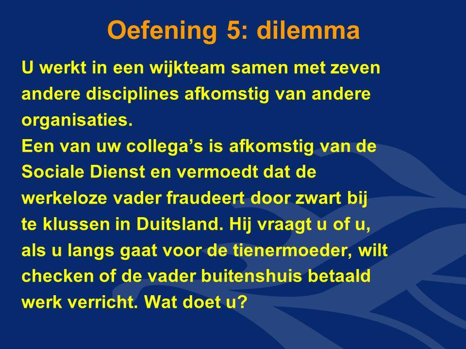 Oefening 5: dilemma U werkt in een wijkteam samen met zeven andere disciplines afkomstig van andere organisaties.