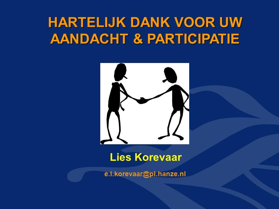 HARTELIJK DANK VOOR UW AANDACHT & PARTICIPATIE HARTELIJK DANK VOOR UW AANDACHT & PARTICIPATIE e.l.korevaar@pl.hanze.nl Lies Korevaar