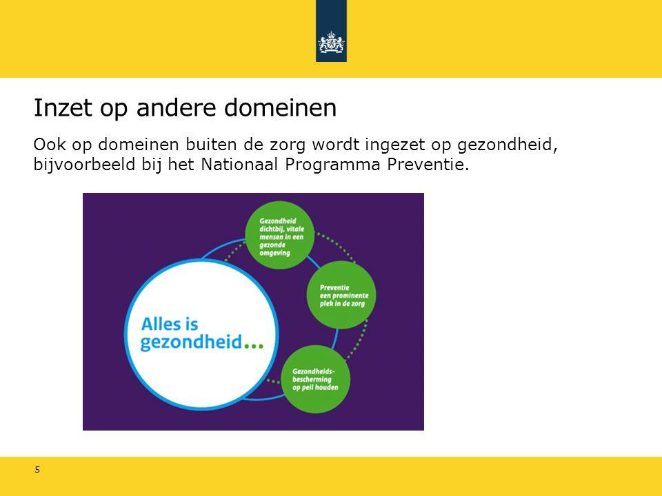 Een gezonde omgeving: werk 6 Inzet op Stimuleren van actief gezondheidsbeleid en kennisverspreiding in bedrijven Vergroten van bewustzijn voor veilig en gezond werken en het behoud van duurzame participatie Efficiënt functioneren van de arbeidsgerelateerde zorg Verbeteren van samenwerking tussen de curatieve- en arbeidsgerelateerde zorg Ondersteuning van enkele specifieke groepen, m.n.