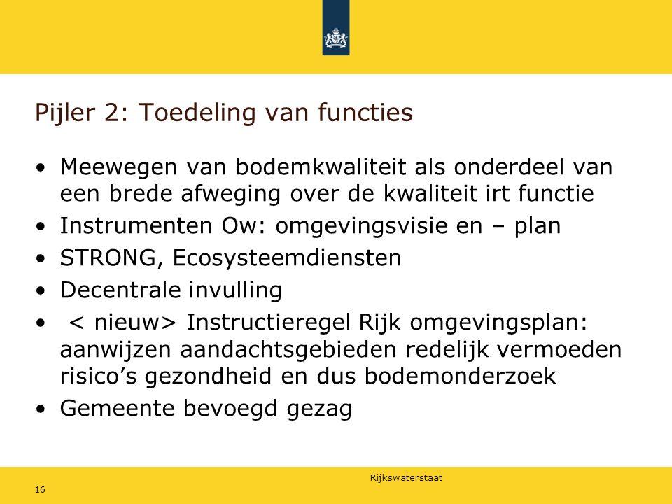Rijkswaterstaat Pijler 2: Toedeling van functies Meewegen van bodemkwaliteit als onderdeel van een brede afweging over de kwaliteit irt functie Instru
