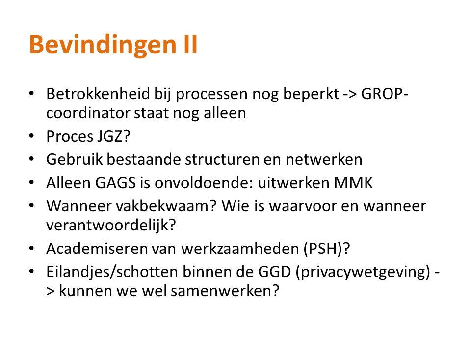 Bevindingen II Betrokkenheid bij processen nog beperkt -> GROP- coordinator staat nog alleen Proces JGZ? Gebruik bestaande structuren en netwerken All