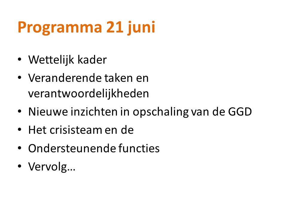 Programma 21 juni Wettelijk kader Veranderende taken en verantwoordelijkheden Nieuwe inzichten in opschaling van de GGD Het crisisteam en de Ondersteunende functies Vervolg…