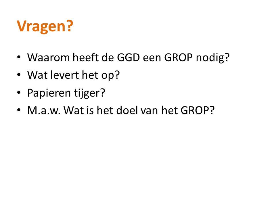 Vragen? Waarom heeft de GGD een GROP nodig? Wat levert het op? Papieren tijger? M.a.w. Wat is het doel van het GROP?