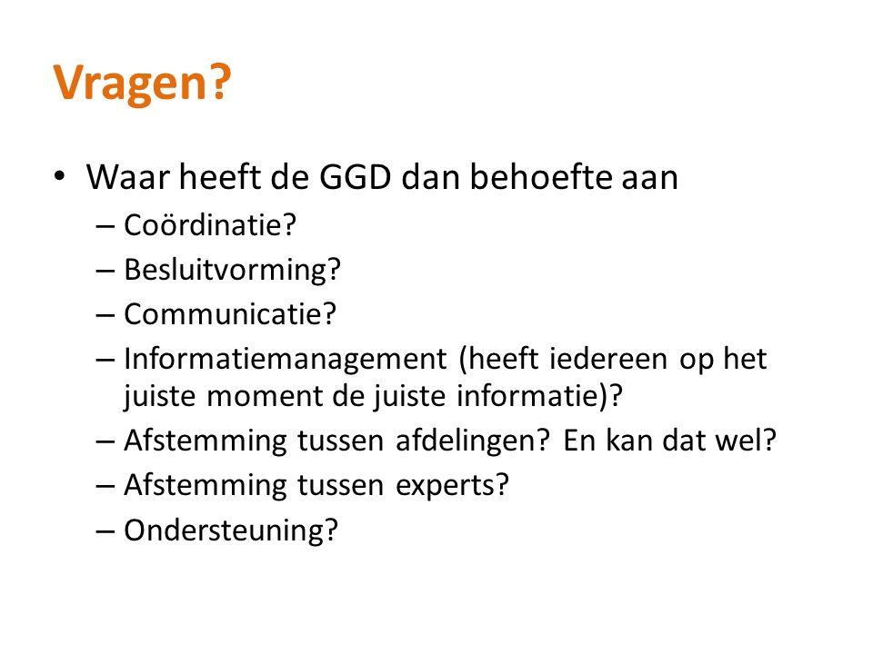 Vragen? Waar heeft de GGD dan behoefte aan – Coördinatie? – Besluitvorming? – Communicatie? – Informatiemanagement (heeft iedereen op het juiste momen