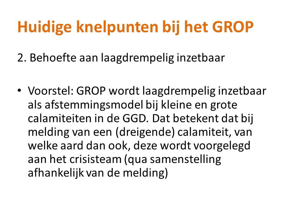 Huidige knelpunten bij het GROP 2. Behoefte aan laagdrempelig inzetbaar Voorstel: GROP wordt laagdrempelig inzetbaar als afstemmingsmodel bij kleine e