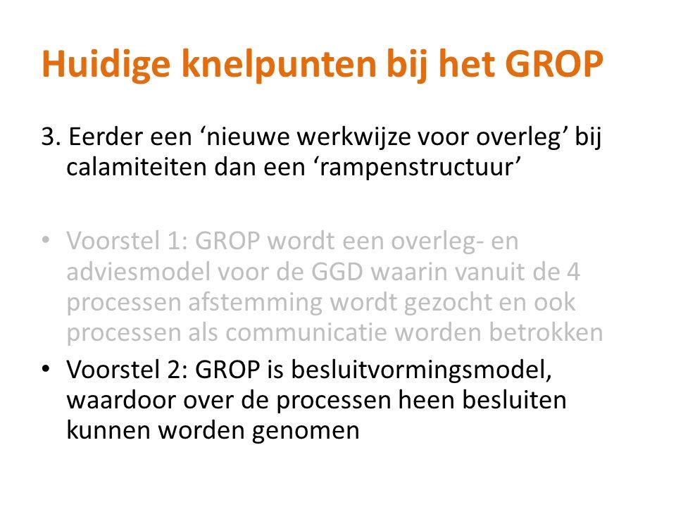 Huidige knelpunten bij het GROP 3. Eerder een 'nieuwe werkwijze voor overleg' bij calamiteiten dan een 'rampenstructuur' Voorstel 1: GROP wordt een ov