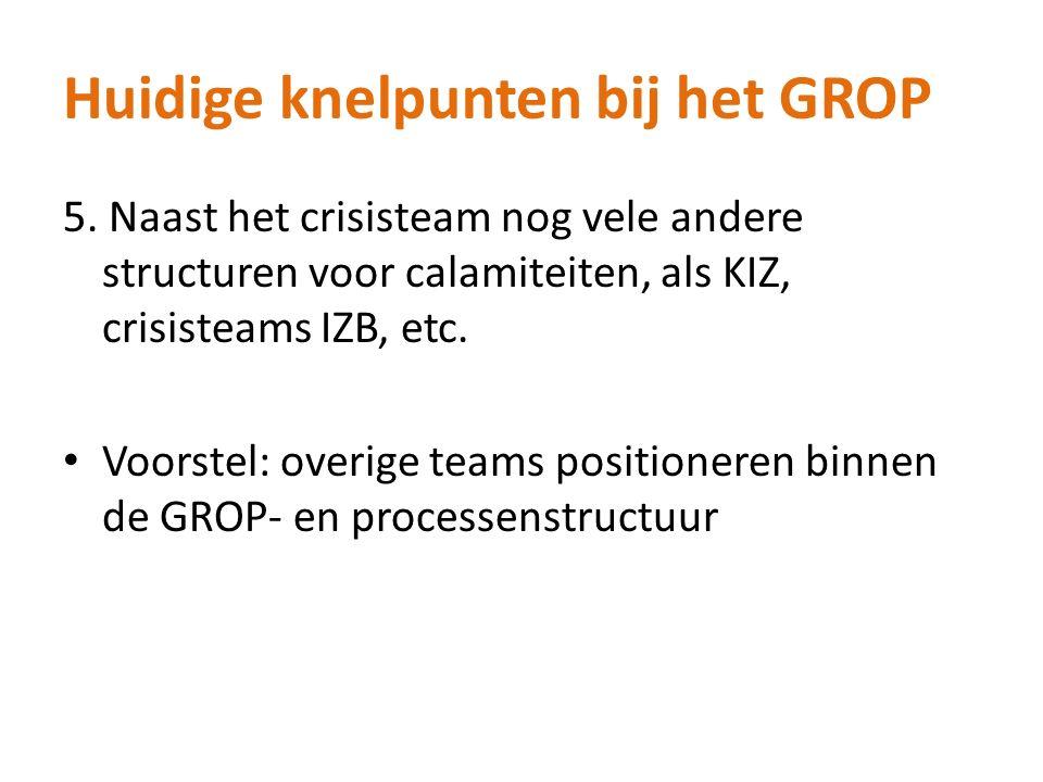 Huidige knelpunten bij het GROP 5. Naast het crisisteam nog vele andere structuren voor calamiteiten, als KIZ, crisisteams IZB, etc. Voorstel: overige