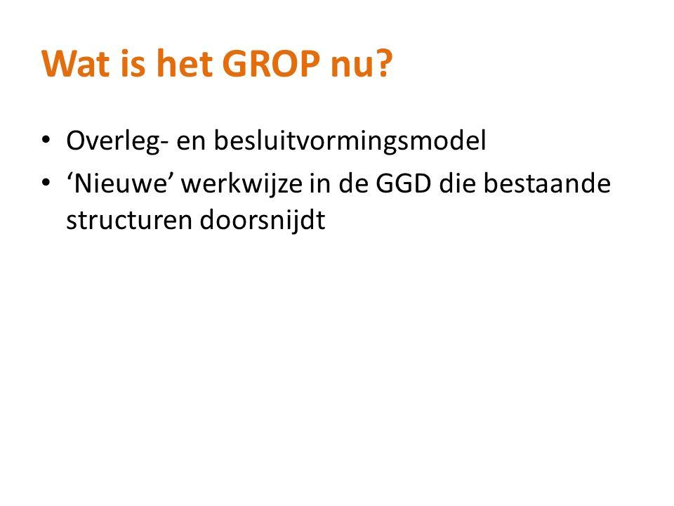 Wat is het GROP nu? Overleg- en besluitvormingsmodel 'Nieuwe' werkwijze in de GGD die bestaande structuren doorsnijdt