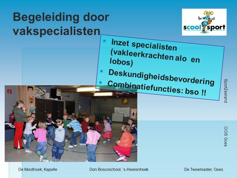 Begeleiding door vakspecialisten  Inzet specialisten (vakleerkrachten alo en lobos)  Deskundigheidsbevordering  Combinatiefuncties: bso !.